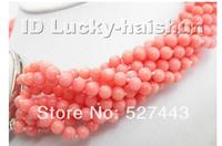 High quality Natural Cylinder Coral stone 3 4mm Genuine South Coral pink coral necklace cameo clasp Round Beads 18inch Beads