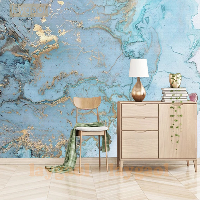 Modern Fashion 3D Mural Wallpaper Vintage Luxury Blue Gold