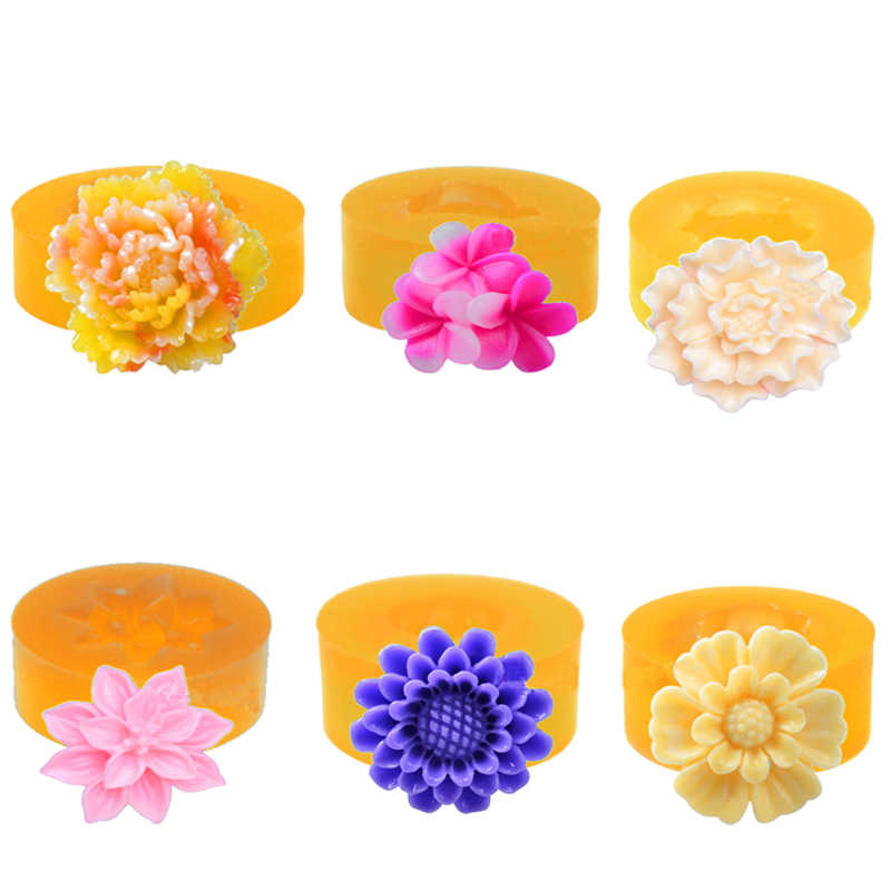 Silicone Mould 6 Flower Mold Cake Moulds Sunflower & Carnation fondant  Candy Chocolate Resin Clay Molds for cake decorations
