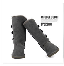 Hot Fashion Genuine Selling High Quality Leather Three button Warm womwen Winter Snow Boots Plus Size 5-14 black gray