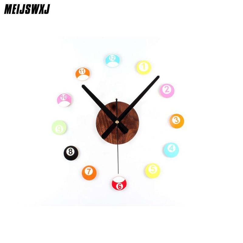 Saat Clock Reloj Wall Cock Duvar Saati Relogio De Parede Horloge Murale Klok Watch Billiards Digital Self Adhesive Wall Clocks