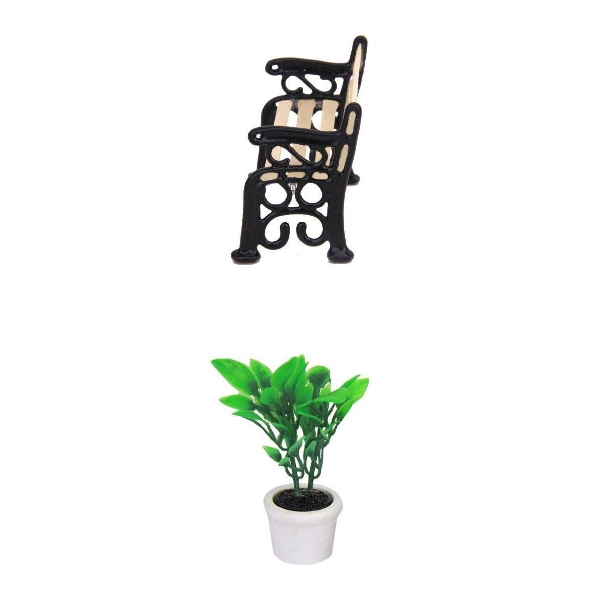 Abwe зеленые растения в горшок и деревянная садовая скамейка кукольный домик Миниатюрный Black Metal парк
