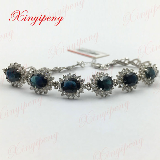 Diana money 925 sterling silver with 100% natural Sapphire bracelet Fashion jewelry Mother a gift