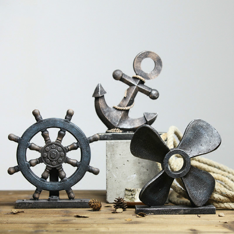 Méditerranée voile ancre gouvernail boussole Vintage vêtements magasin affichage accessoires ameublement Vintage décor à la maison