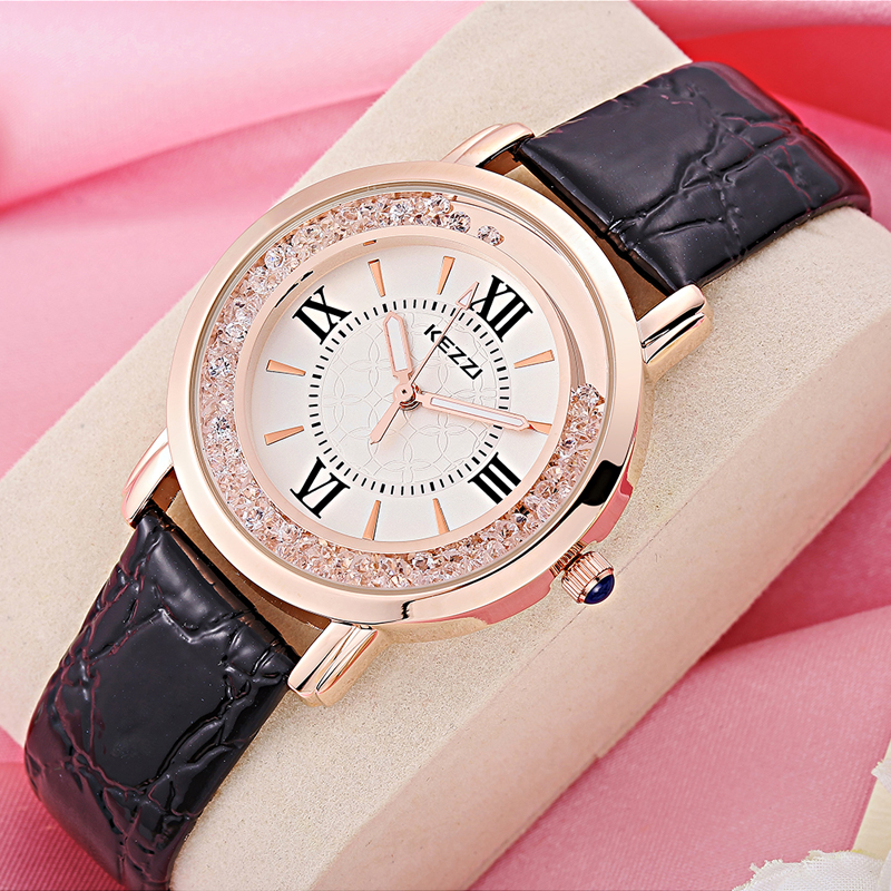KEZZI Brand Womens Watch Luxury Rome Number Rhinestone Crystal Dress Watch Casual Fashion Quartz Wristwatches Dames Horloges New alloy strap number rhinestone watch