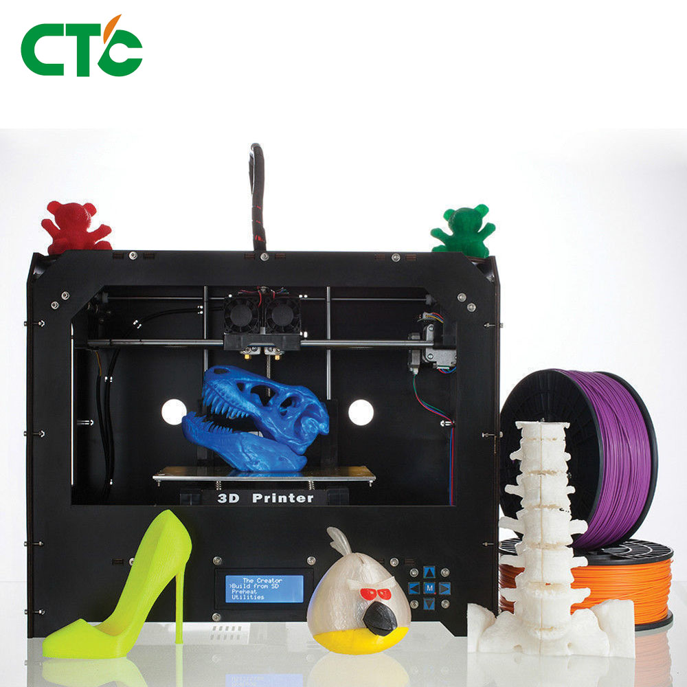 New CTC 3D Printer, Dual Extruder + Dual nozzle Two Color Printing 3d Printer / send 0.3KG Abs or Pla Spools for free new arrival 3d printing pen with 100m 10 color or 200 meter 20 color plastic pla filaments 3 d printer drawing pens for kid gift