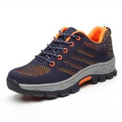Bezpieczeństwa buty Cap ze stali Toe buty bezpieczeństwa buty dla mężczyzny buty robocze męskie oddychające oczek rozmiar 12 obuwie odporne na zużycie GXZ505