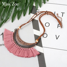 21 colors Vintage Bohemian Ethnic Tassel Necklace for Women Leather Rope Statement Pendant Necklace BOHO Jewelry Accessories(China)