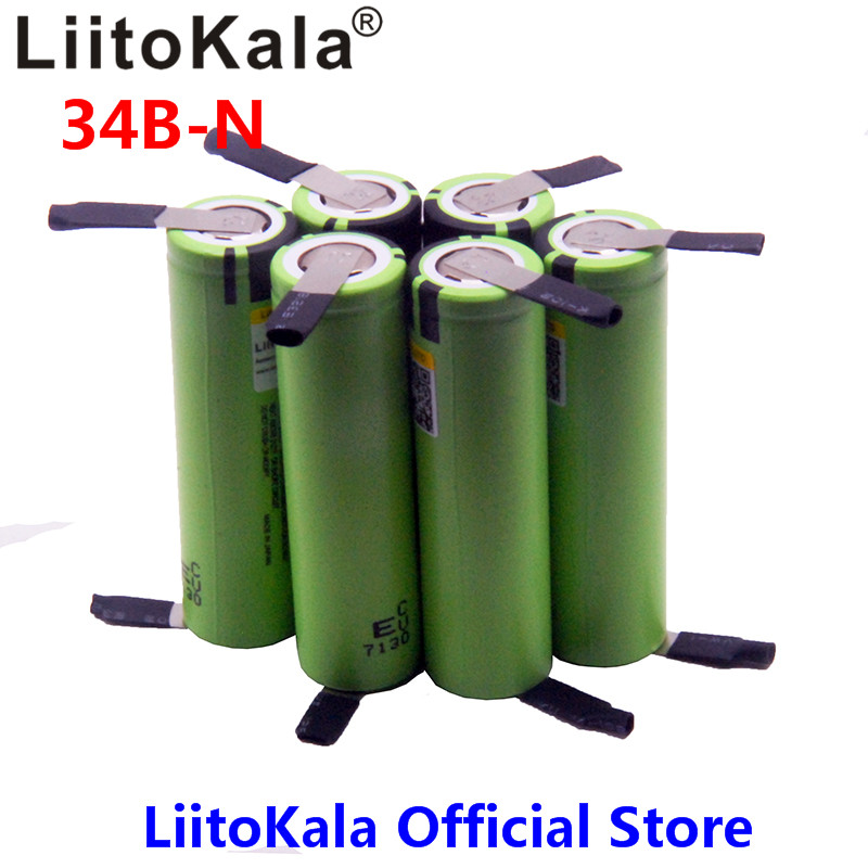 все цены на 6pcs LiitoKala NEW original NCR18650B 3.7V 3400mAh 18650 rechargeable lithium battery for battery + DIY nickel piece онлайн