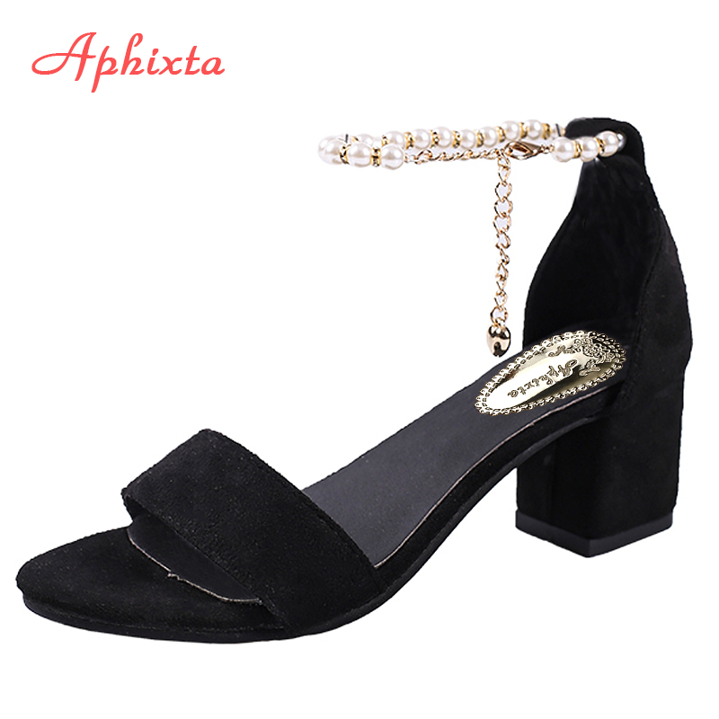 Aphixta String Bead Summer Women Sandals Chain Square Heel Buckle Strap Cover Heel Flock Party Shoes Plus Big Size 41 42 43