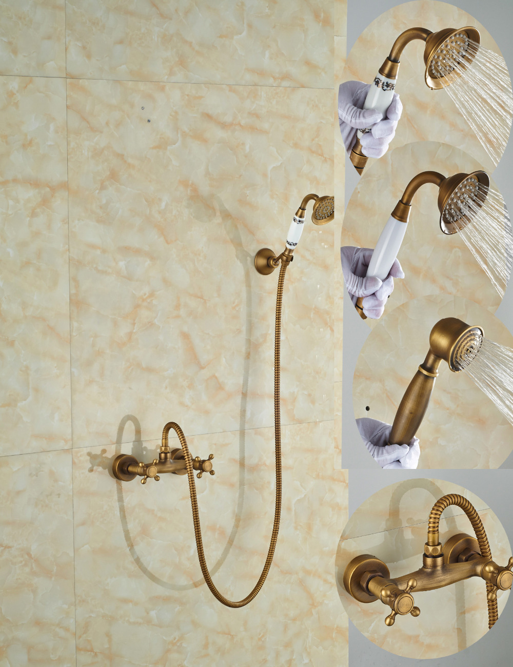 Wholesale And Retail Promotion Classic Antique Brass Bathroom Tub Faucet Dual Cross Handles W/ Handhelf Shower Sprayer