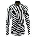 new arrival Zebra stripes Tide brand creative design long-sleeved fashion shirt men's digital printing plus size M L XL 2XL 3XL