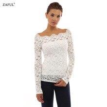 Zaful Sexy Off-Shoulder Long Sleeve Lace Chiffon Blouse