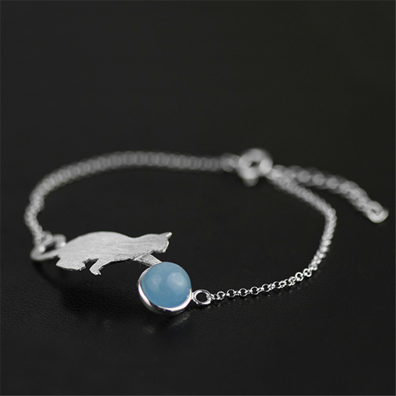 Lotus Fun Real 925 Sterling Silver Natural Aquamarine Original Handmade Fine Jewelry Playing Cat Fashion Bracelet For Women