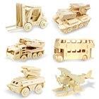 DIY 3D Wooden Car Truck Dinosaur Puzzle Game Children Kids Natural Color Toys Model Building Kits Educational Hobbies Gift