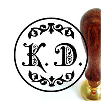 Free shipping ! double letter design wedding Retro antique ancient sealing wax stamp set customize logo custom map image +handle