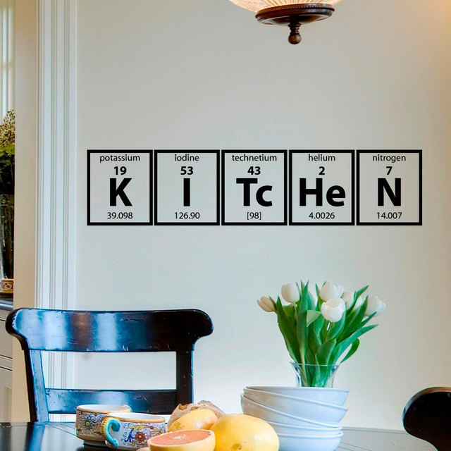 Kitchen Wall Sticker Periodic Table Of Elements Decal Cooking Vinyl Lettering Poster Family