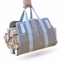 Supersized Firewood Carrier Log Tote Camping Outdoor Carry Bag Heavy 16oz Canvas Comfortable Padded Handles Foldable