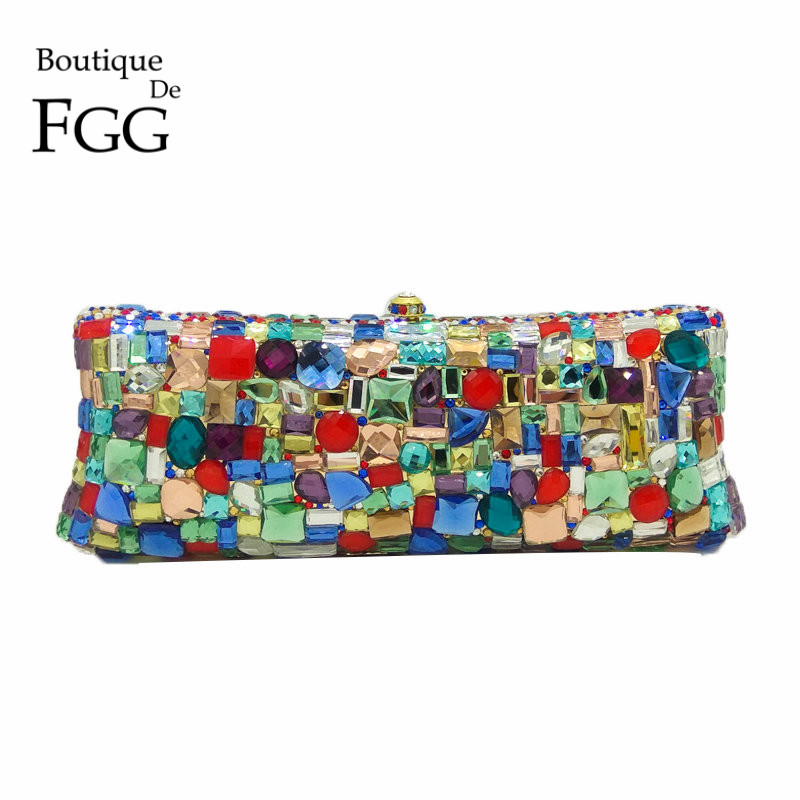 Boutique De FGG Multi-Colored Rhinestone Crystal Women Evening Clutches Bag Wedding Party Dinner Metal Clutch Minaudiere HandbagBoutique De FGG Multi-Colored Rhinestone Crystal Women Evening Clutches Bag Wedding Party Dinner Metal Clutch Minaudiere Handbag