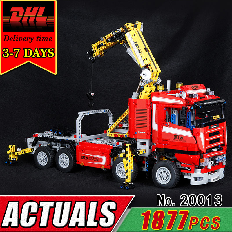 DHL LEPIN 20013 Technic Series Ultimate Mechanical The Electric Crane Truck Building Blocks RC Car Compatible 8258 Brick Toy Kid
