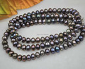 76cm long 8mm black cultured freshwater pearl necklace
