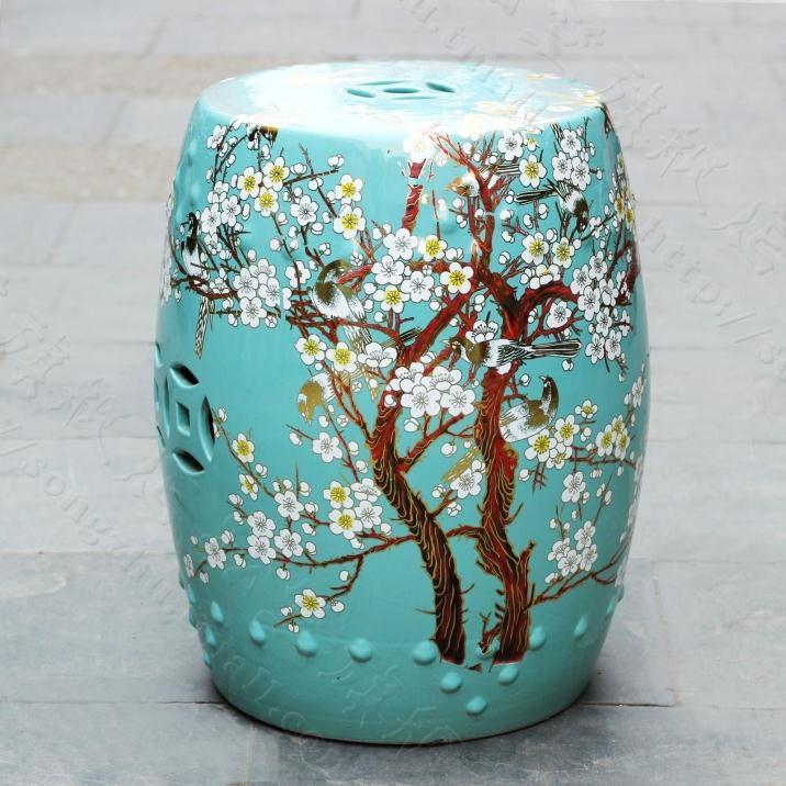 China Plum Blossom Painting Ceramic Drum Porcelain Garden