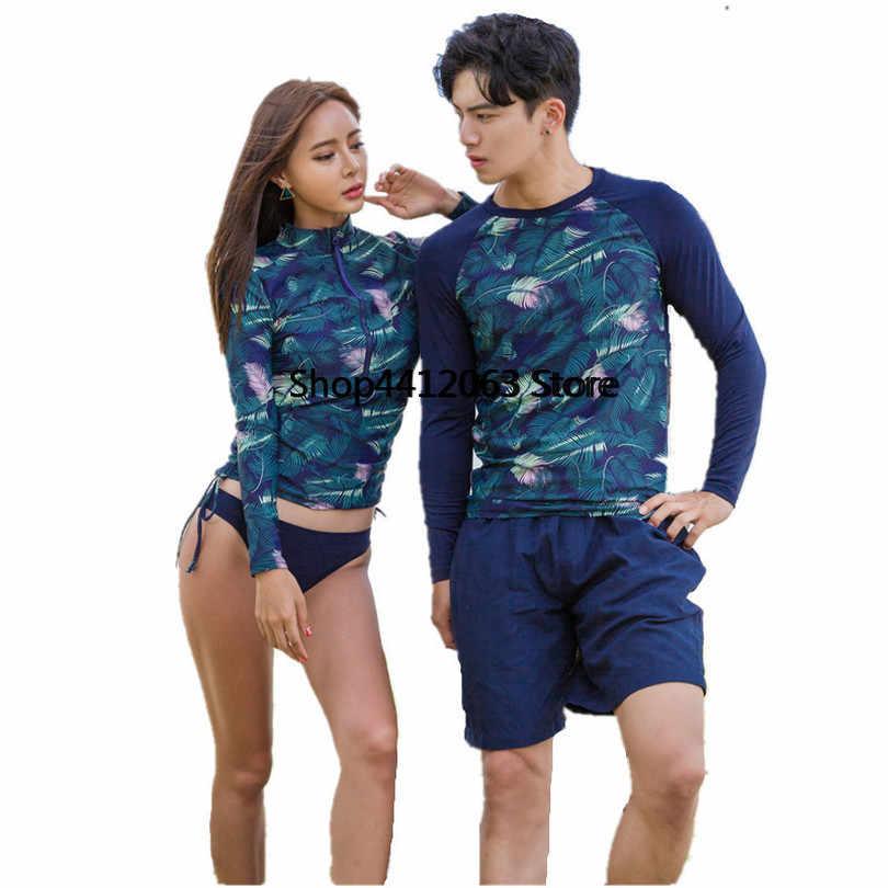 تصفح المايوه للنساء ملابس السباحة جديد وصول 2018 لباس سباحة ملابس السباحة داخلي اثنين من قطعة الرجال الشمس سستة طويلة الأكمام زوجين