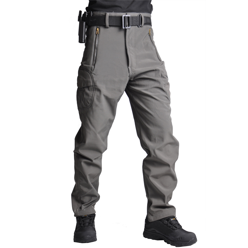 TACVASEN Men Fleece Pants Winter Warm Softshell Tactical Trousers Camouflage Military Army Pants Airsoft Hunt Hike Trousers