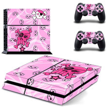 pink skull love heart decal PS4 Skin Sticker For Sony Playstation 4 Console +2Pcs Controllers