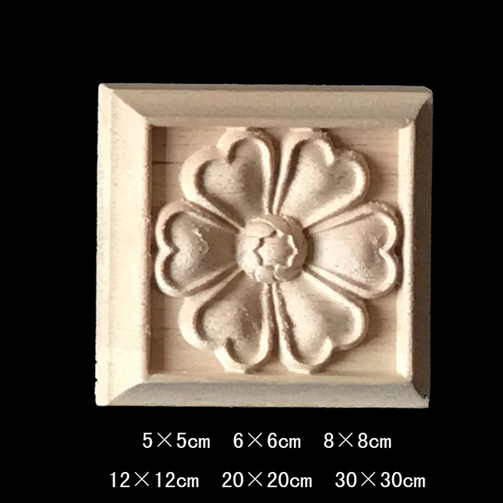 SUNYMALL 2pcs DIY Round European Woodcarving Decal Wood Carved Wood Carving Decorations Home Decorative Wood Appliques Carved Applique Window Door Decor Wooden Figurines Crafts Size : 10cm/×10cm
