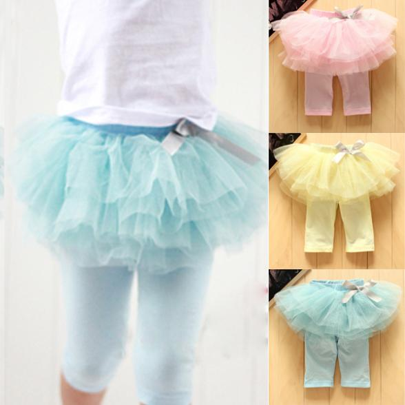 0-3Y New Fashion Baby Girl Kids Culottes Leggings Gauze Pants Party Skirts Bow Tutu Skirts