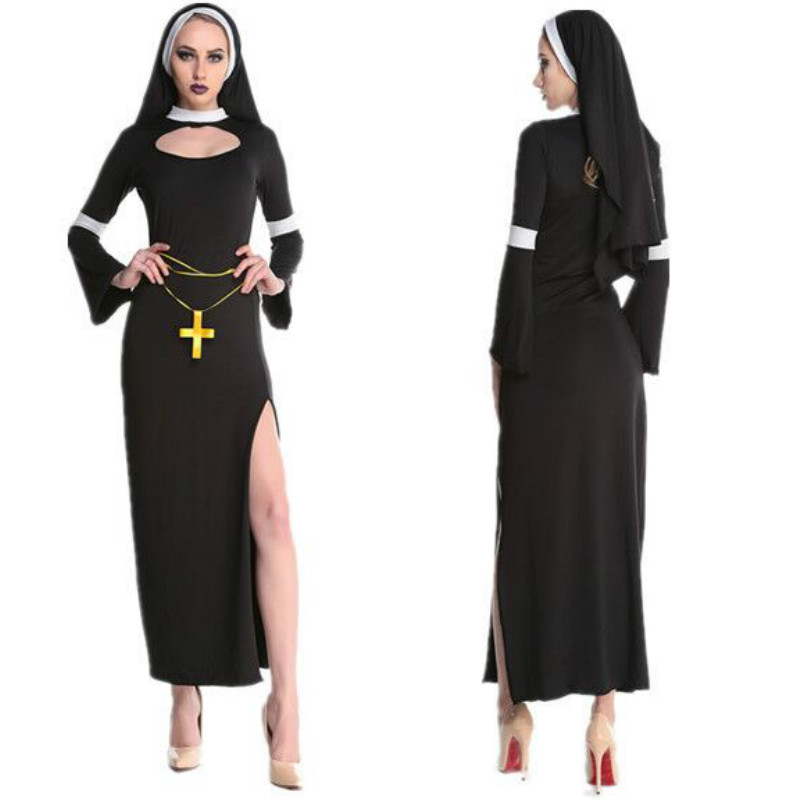 2020 New Hot Arab Clothing Black <font><b>Sexy</b></font> Catholic Monk Cosplay <font><b>Dress</b></font> <font><b>Halloween</b></font> Costumes Nun Costume image
