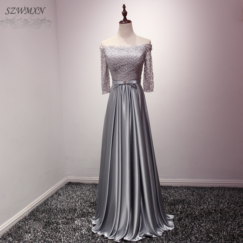 Simple And Elegant Wedding Dresses Boat Neck Three Quarter: Elegant Simple Gray Evening Dresses Lace Top Boat Neck