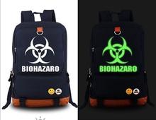 Купить с кэшбэком New Film Resident Evil Backpack Fashion Canvas Student Luminous Schoolbag Unisex Travel Bags
