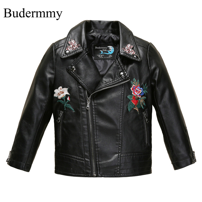 Flower Winter Jackets for Girls Coats Leather Windbreaker for 3 4 5 6 8 10 12 Years Toddler Children's Jackets Clothes Outerwear