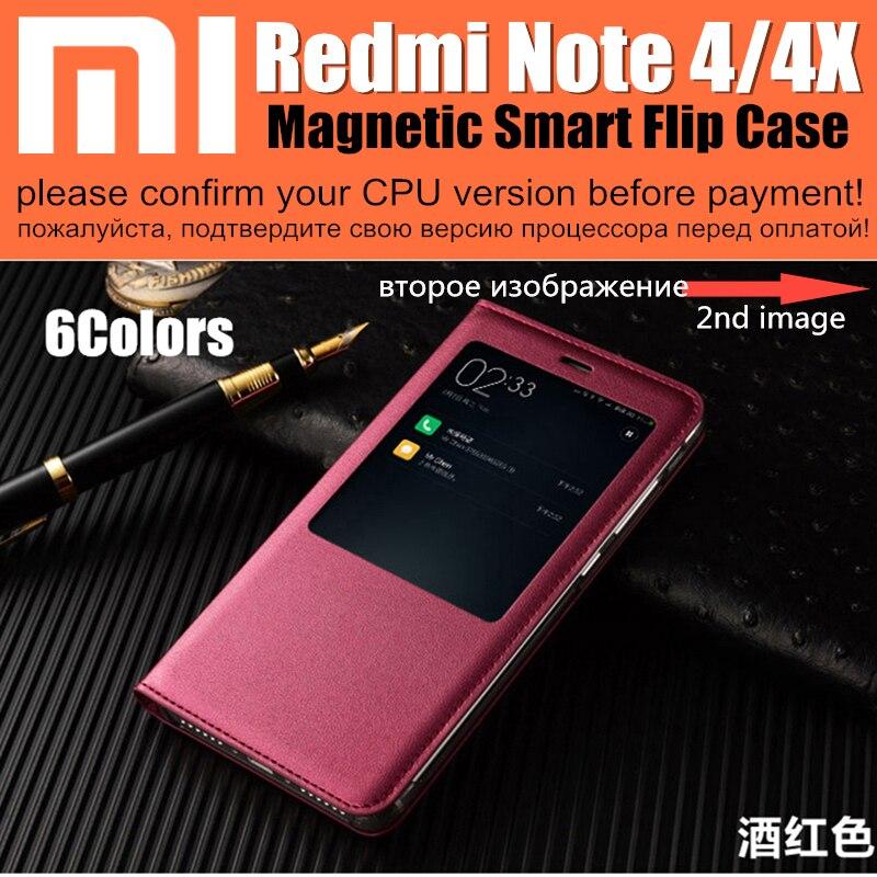Xiaomi Redmi Note 4 Case Smart Magnet Flip Cover Wake Up Sleep Window Display Case Redmi