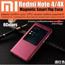 xiaomi redmi note 4 case smart magnet flip cover wake up/ sleep window display case redmi note 4x note 4 pro