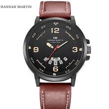 Hombres mujeres reloj delicado noble moda hannah martin army men fecha de Acero Inoxidable Del Cuarzo Del Deporte Reloj de Pulsera de Cuero de LA VENTA CALIENTE 2 *