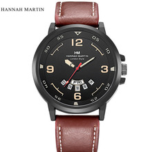 Men Women Watch Delicate Noble Fashion  Hannah Martin Men Army Date Leather Stainless Steel Sport Quartz Wrist Watch HOT SALE 2