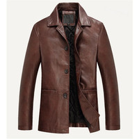 2017 Mens Leather Jacket Spring Autumn Motorcycle Soft PU Leather Jackets Men Business Casual Jacket Jaqueta