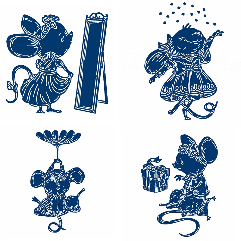 Lovely Cartoon Mouse Princess Pattern Metal Cutting Dies Stencil Scrapbooking Embossing For Paper Card DIY Crafts Supplies