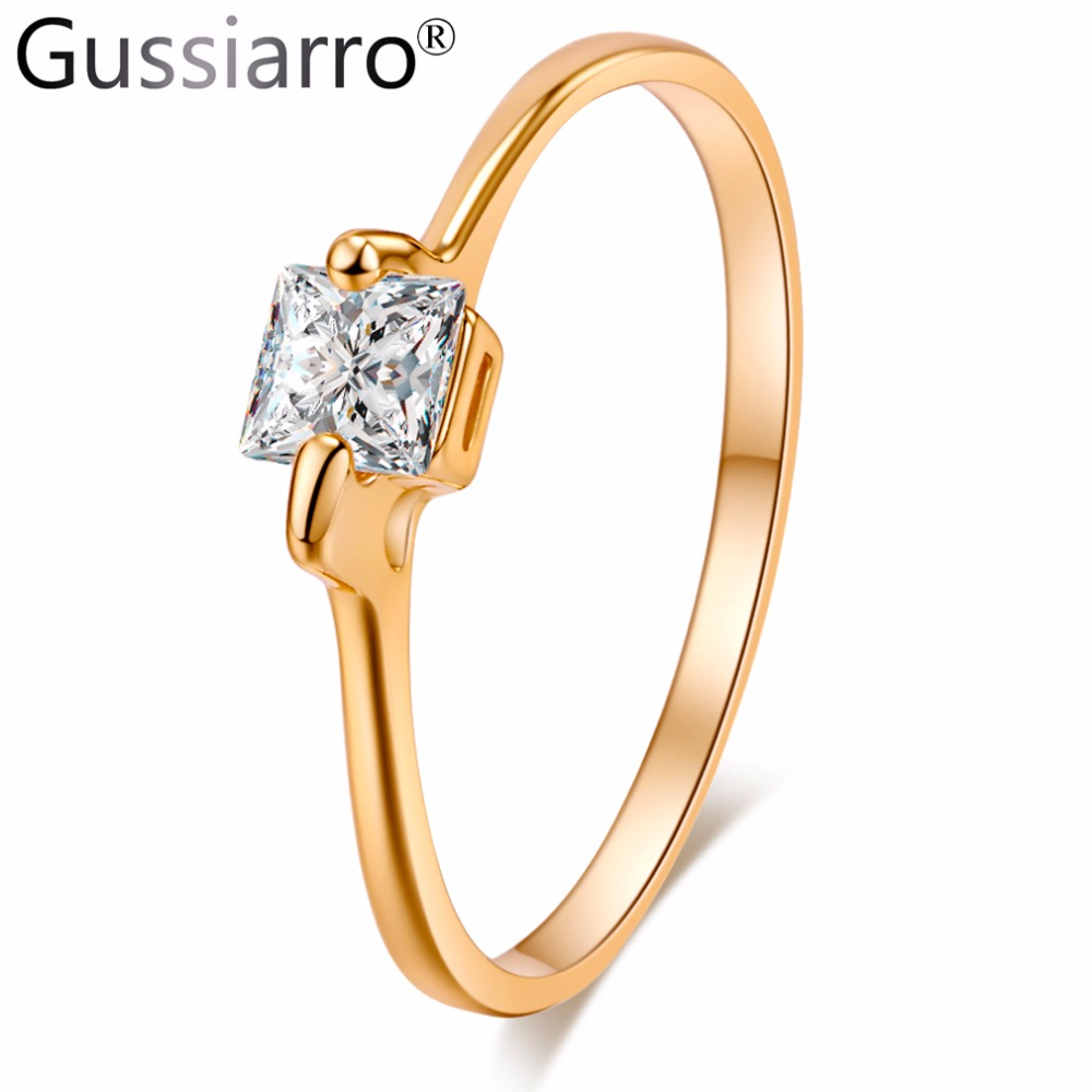Gussiarro Party Square AAA Cubic Zircon Engagement Rings for women  Gold Color Wedding Rings Female Anel Jewelry Top Quality