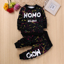 Kids Clothing Sets Colorful Letter Warm Baby Boys Girls Christmas Tracksuit Set Pullover Children Outfits Sports Suit No.80