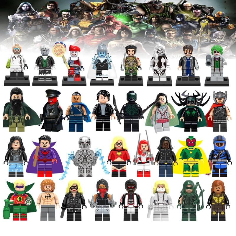1Pcs Justice League Movie Super Heroes Legoelys Batman Wonderwoman Aquaman Cyborg Superman Figures Avengers Building Blocks