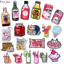 Prajna Watermelon Milk Patch Japan Chihuahua Dog Anime Embroidered Iron on Patches Stickers On Clothes Cat Rainbow Stripe