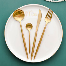 304 Stainless Steel Knife Dinnerware Set 4 Pcs Gold Cutlery Set Mirror Polishing Utensils Kitchen Dinner Knife Fork Spoon Set(China)