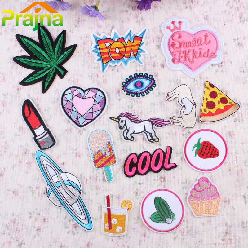 1pcs letter heart patch iron on cartoon patches kids fashion design cheap embroidered cute patches for