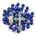Fashion blue round hematite bead catholic rosary high quality handmade rosary