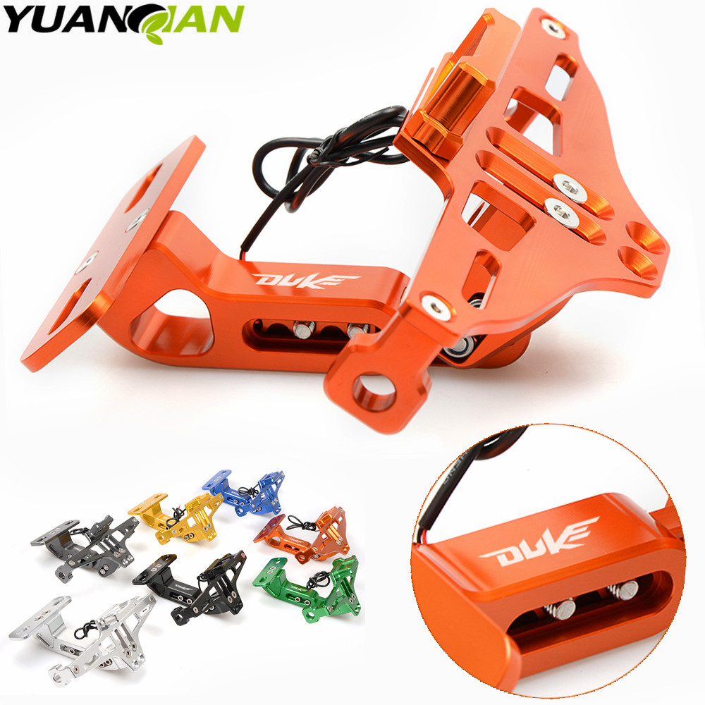 FOR DUKE LOGO Motorcycle License Plate Bracket Holder For KTM DUKE 390 690 125 200 DUKE 85 80 160 125 250 450 500 EXC EXCF EXC universal motorcycle accessories gear shifter shoe case cover protector for ktm duke 125 200 390 690 990 350 1290 adventure exc