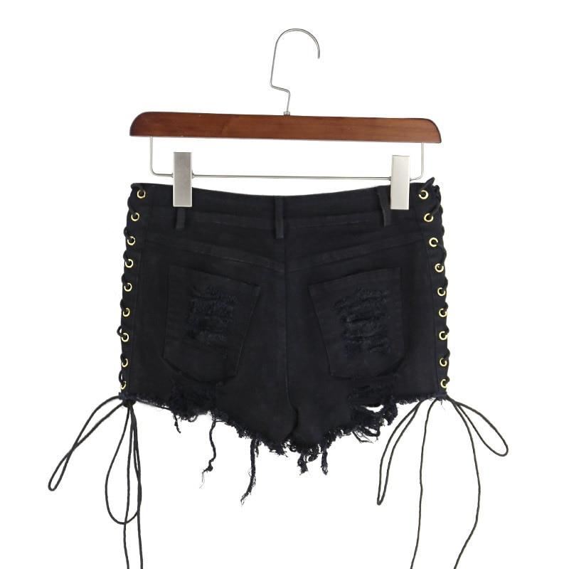 4a28ba6c6f44e US $16.79 30% OFF|BONJEAN Europa Sexy Bandage Distressed Frauen Denim  Shorts 2017 Sommer Schwarz Hohe Taille Shorts Zerrissenen Jeans Hotpants  2XL 3XL ...